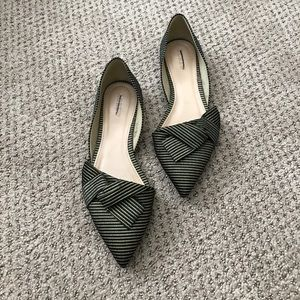 J. Crew Sloan Striped D'Orsay Flats with bows